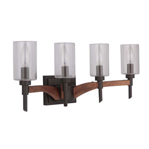 Tahoe Espresso Four-Light Vanity with Clear Seeded Glass Shade