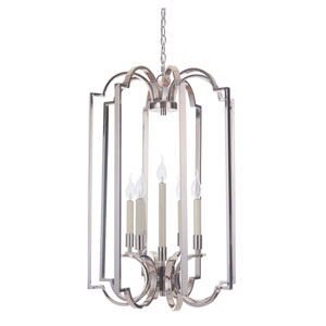 Crescent Polished Nickel Five-Light Chandelier