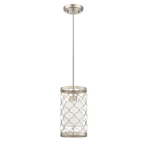 Marbella Satin Nickel One-Light Mini Pendant with White Frosted Glass Shade
