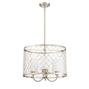 Marbella Satin Nickel Three-Light Chandelier with White Frosted Glass Shade