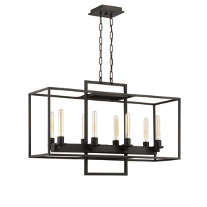 Cubic Aged Bronze Brushed Eight-Light 12-Inch Chandelier