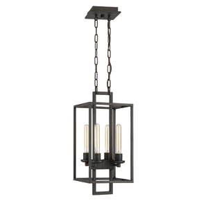 Cubic Aged Bronze Brushed Four-Light Chandelier