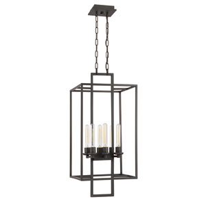 Cubic Aged Bronze Brushed Six-Light 15-Inch Chandelier