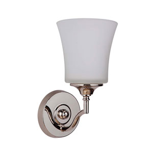 Helena Polished Nickel One-Light Bath Sconce with White Frosted Glass Shade