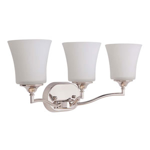 Helena Polished Nickel Three-Light Vanity with White Frosted Glass Shade