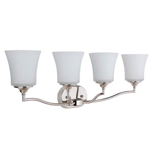 Helena Polished Nickel Four-Light Vanity with White Frosted Glass Shade