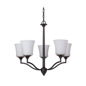 Helena Oiled Bronze Five-Light Chandelier with White Frosted Glass Shade