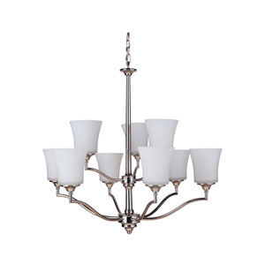 Helena Polished Nickel Nine-Light Chandelier with White Frosted Glass Shade