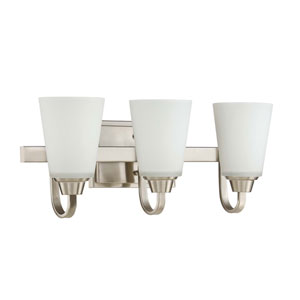 Grace Brushed Nickel Three-Light Vanity with White Frosted Glass Shade