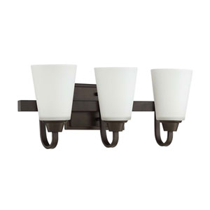 Grace Espresso Three-Light Vanity with White Frosted Glass Shade
