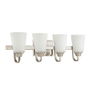 Grace Brushed Nickel Four-Light Vanity with White Frosted Glass Shade