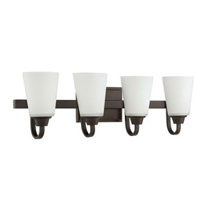 Grace Espresso Four-Light Vanity with White Frosted Glass Shade