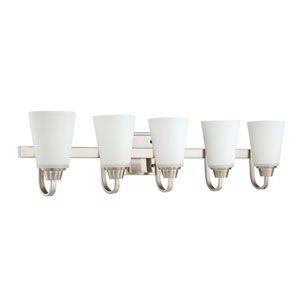 Grace Brushed Nickel Five-Light Vanity with White Frosted Glass Shade