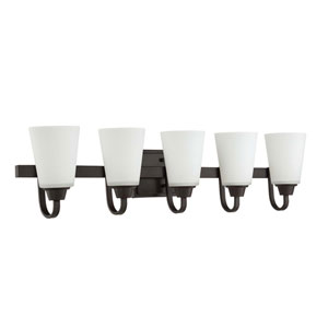 Grace Espresso Five-Light Vanity with White Frosted Glass Shade