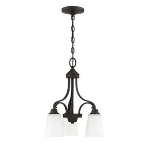 Grace Espresso Three-Light 17-Inch Chandelier with White Frosted Glass Shade