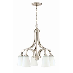 Grace Brushed Nickel Five-Light 24-Inch Chandelier with White Frosted Glass Shade