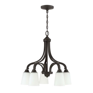 Grace Espresso Five-Light 24-Inch Chandelier with White Frosted Glass Shade