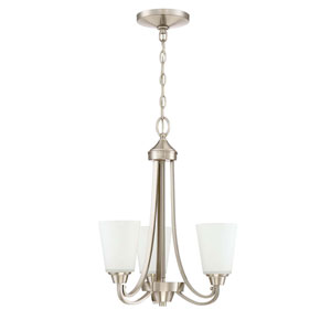 Grace Brushed Nickel Three-Light Chandelier with White Frosted Glass Shade
