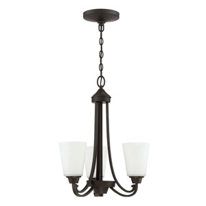 Grace Espresso Three-Light 18-Inch Chandelier with White Frosted Glass Shade