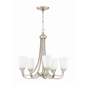 Grace Brushed Nickel Five-Light 26-Inch Chandelier with White Frosted Glass Shade