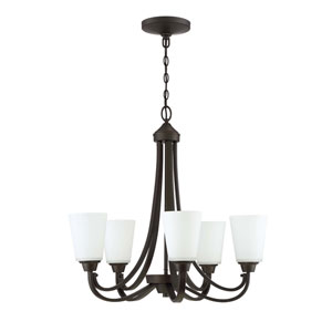 Grace Espresso Five-Light 26-Inch Chandelier with White Frosted Glass Shade