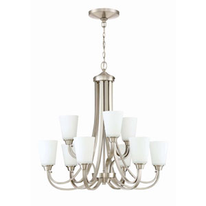 Grace Brushed Nickel Nine-Light Chandelier with White Frosted Glass Shade