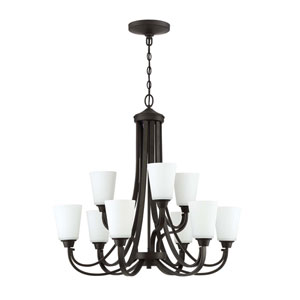 Grace Espresso Nine-Light Chandelier with White Frosted Glass Shade