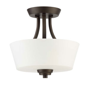 Grace Espresso Two-Light Semi-Flush Mount with White Frosted Glass Shade