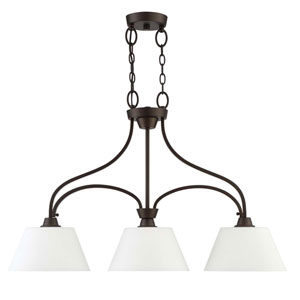 Grace Espresso Three-Light Island Pendant with White Frosted Glass Shade
