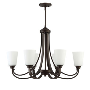 Grace Espresso Six-Light Chandelier with White Frosted Glass Shade