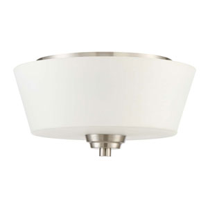Grace Brushed Nickel Two-Light Flush Mount with White Frosted Glass Shade
