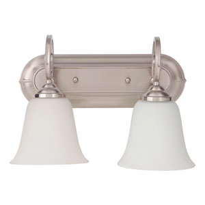 Cecilia Brushed Satin Nickel Two-Light Vanity with White Frosted Glass Shade