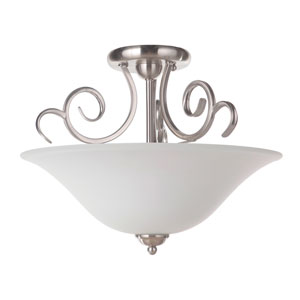 Cecilia Brushed Satin Nickel Three-Light Semi-Flush Mount with White Frosted Glass Shade
