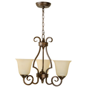 Builder Peruvian Three-Light Chandelier with Amber Frost Glass