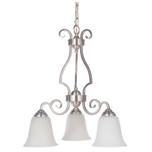 Cecilia Brushed Satin Nickel Three-Light Chandelier with White Frosted Glass Shade