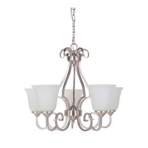 Cecilia Brushed Satin Nickel Five-Light Chandelier with White Frosted Glass Shade