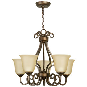 Builder Peruvian Five-Light Chandelier with Amber Frost Glass