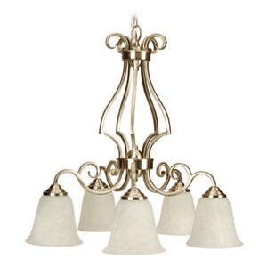 Cecilia Brushed Satin Nickel 24-Inch Five-Light Down Chandelier