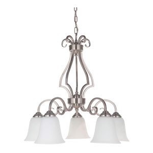 Cecilia Brushed Satin Nickel Five-Light Down Chandelier