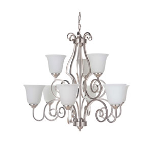 Cecilia Brushed Satin Nickel Nine-Light Chandelier with White Frosted Glass Shade