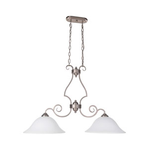Cecilia Brushed Satin Nickel Two-Light Island Pendant with White Frosted Glass Shade