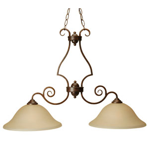Builder Peruvian Two-Light Island Pendant with Amber Frosted Glass
