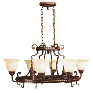 Riata Aged Bronze Eight-Light Pot Rack