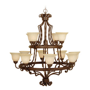Riata Aged Bronze Two Tier Chandelier