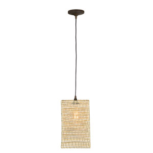 Aged Bronze One-Light Mini Pendant with Paper String Shade
