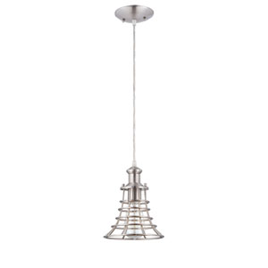 Brushed Polished Nickel 75-Inch High One-Light Mini-Pendant