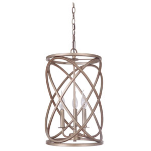 Gold Twilight Three-Light Chandelier with Cage Metal Shade