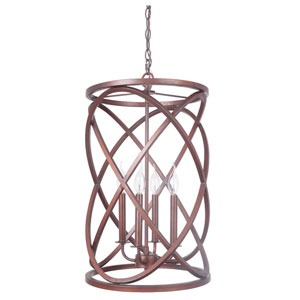 Peruvian Bronze Four-Light Chandelier with Cage Metal Shade