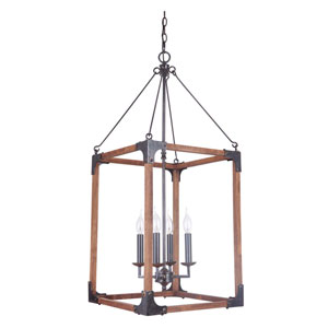 Fired Steel and Natural Wood Four-Light Chandelier with Cage Metal Shade