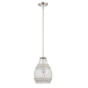 Chrome One-Light Nine-Inch Mini Pendant with Wire Cage Set Crystal Shade
